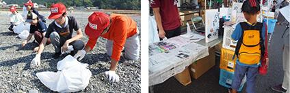 地元ボランティアとともに行う、三重県熊野市熊野大花火大会での清掃活動