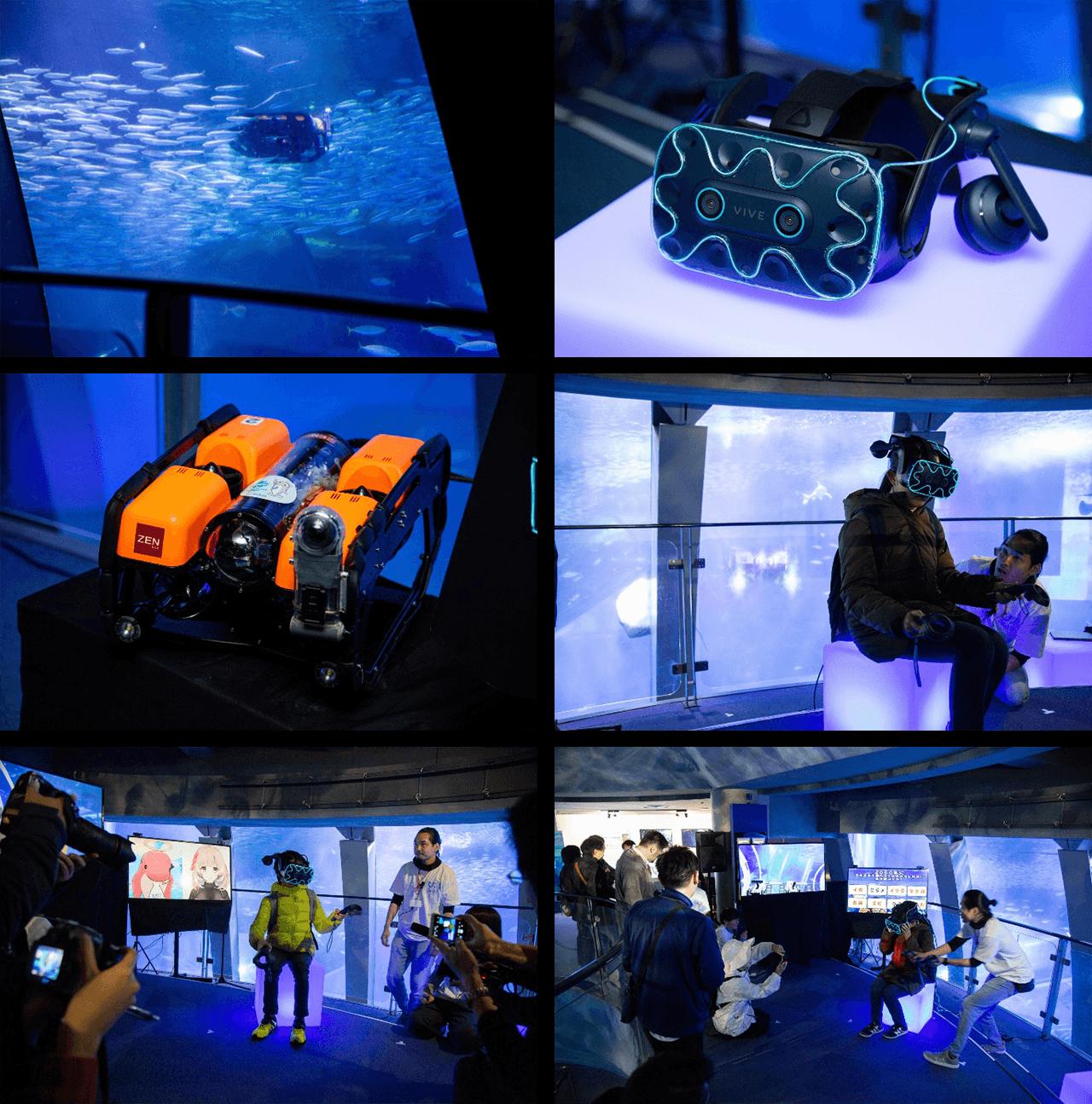 VRゴーグルを装着し、海中遊泳を体験!