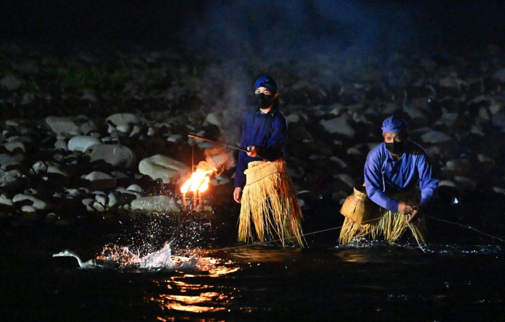 山梨の夏の風物詩、伝統漁法「徒歩鵜」も復活